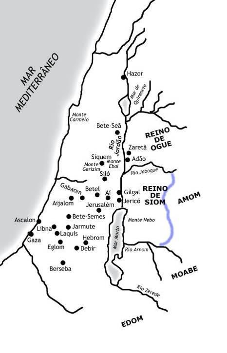 Mapa do Israel nos tempos do Antigo Testamento